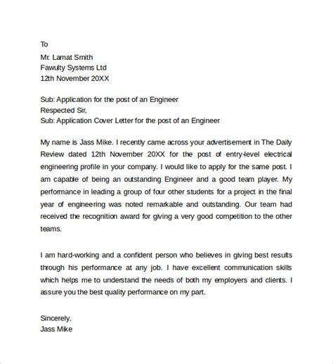Cover Letter Application Engineering Sle Application Cover Letter Templates 8 Free Documents In Word Pdf