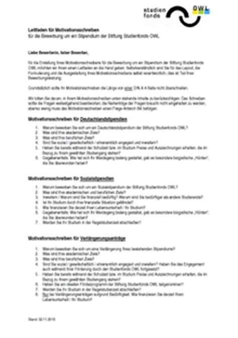 Bewerbung Deutschlandstipendium Motivationsschreiben Studienfonds Owl Downloads
