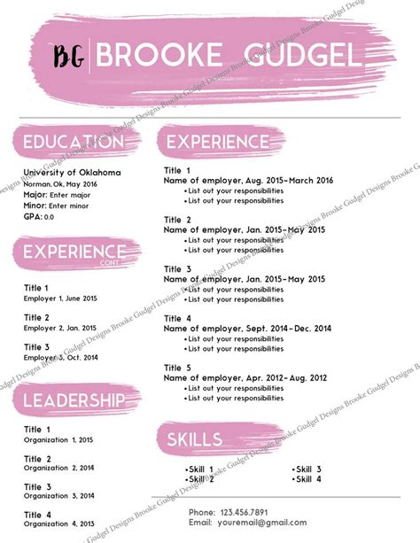 Sorority Resume Template by Blush Resume Contact Brookegudgel Gmail Sorority