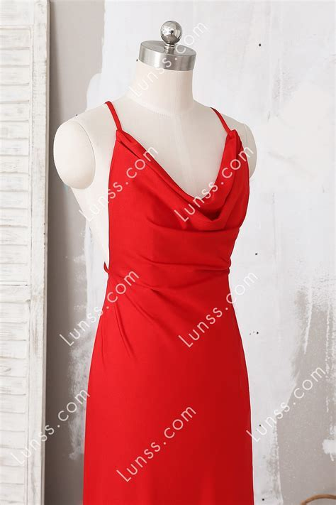 Red Spaghetti Strip Cowl Neck Fitted Floor Length Prom