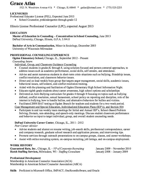 Counseling Resume Exles by School Counselor Resume Sle Http Resumesdesign School Counselor Resume Sle Free