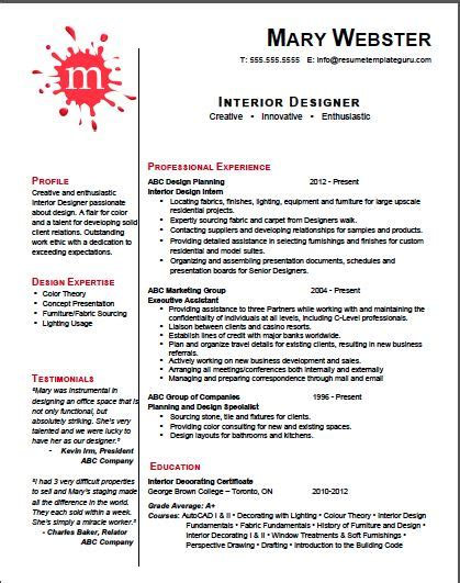 Design Cv Introduction | 1000 ideas about interior design resume on pinterest