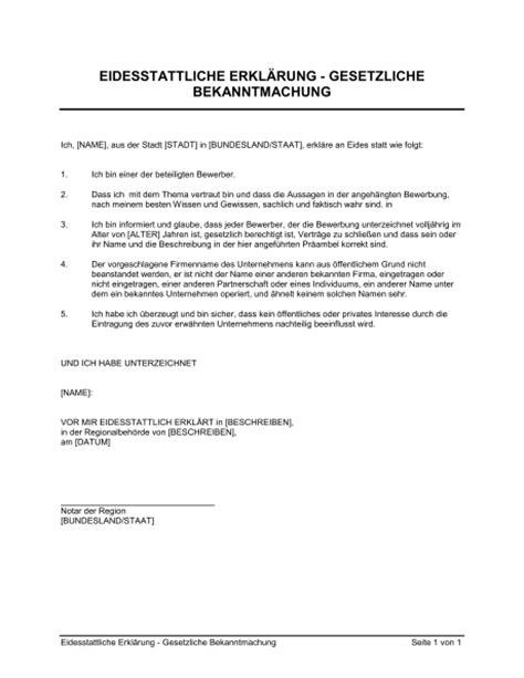 informeller brief englisch vorlage eidesstattliche erkl 228 rung gesetzliche bekanntmachung vorlagen und muster biztree