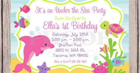 printable under the sea birthday party invitation girls