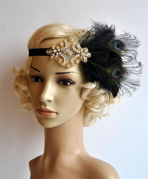 how to make a grate gatsby headpieces maybe too much black gold flapper feather headband great