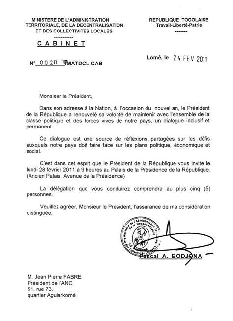 Modã Le De Lettre D Invitation En Togo Letogolais Le Premier Site D Informations Sur Le Togo