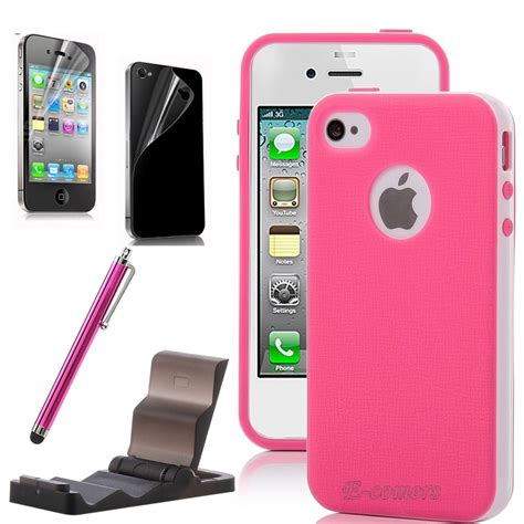 iphone 4 cases for iphone 4 4s pink white 2 hybrid tpu cover stand pen cases