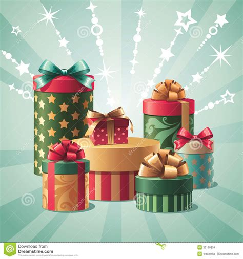 christmas or birthday gift boxes stack stock images