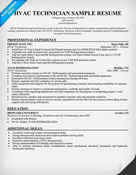 resume format for ac technician hvac technician resume sle resumecompanion