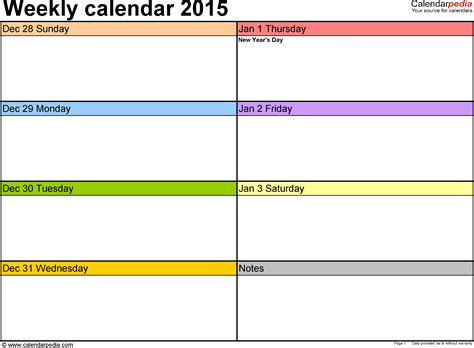 one week calendar template excel weekly calendar 2015 for excel 12 free printable templates