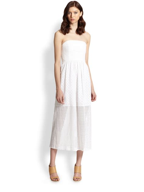 pattern kat dress tibi kat strapless cotton eyelet dress in white lyst