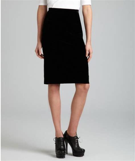 hermes black cotton velvet pencil skirt in black lyst