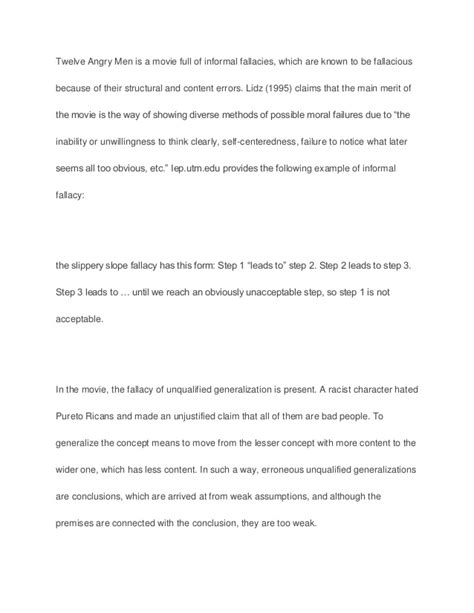 Twelve Angry Essay by Argument In The Twelve Angry Sle Paper Essay