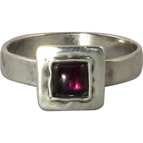 rustic garnet and sterling silver ring from raretreasures