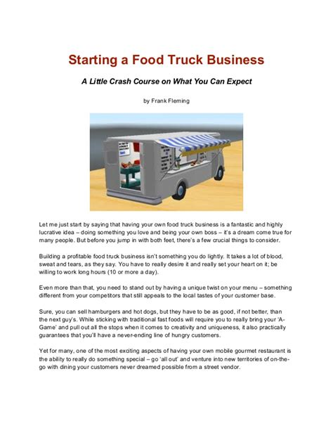 sle business plan food truck start a food truck business in less than 24 weeks