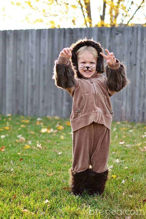 diy frugal furry animal halloween costume  kids bre pea