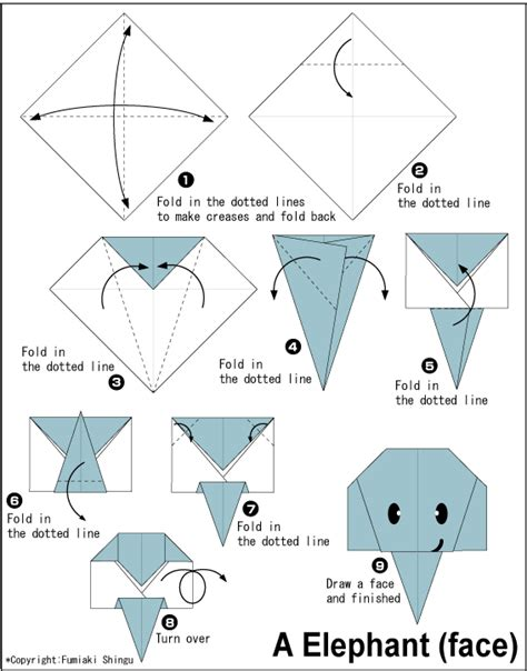 Origami Animals Diagrams - elephant easy origami for