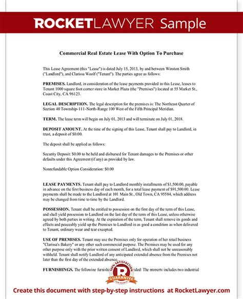 Commercial Real Estate Lease Agreement With Option To Purchase Free Commercial Lease Purchase Agreement Template