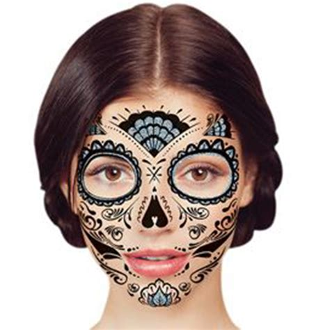day of the dead face tattoos temporary silver glitter day of the dead