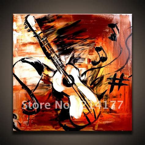 painting wholesale free shipping 100 handpmade abstract guitar canvas