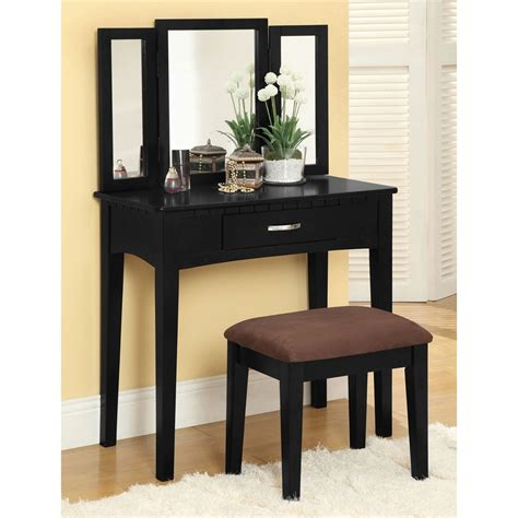 vanity bench set shop furniture of america potterville black makeup vanity