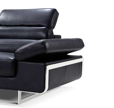 Modern Black Leather Sectional Sofa Ef347 Leather Sectionals Modern Black Leather Sofas