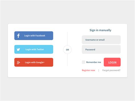 social login widget sketch freebie download free