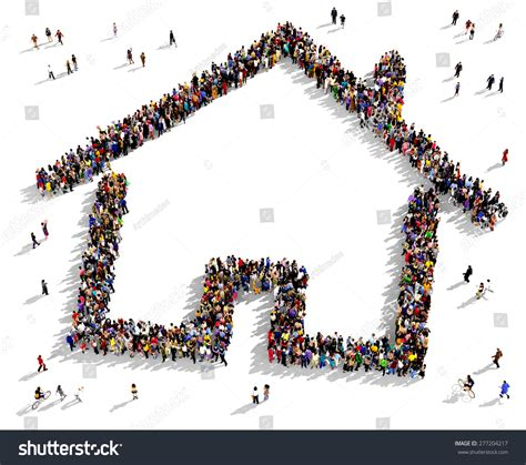 the value of your house over and above the mortgage large group of people seen from above gathered together in the shape of a house symbol