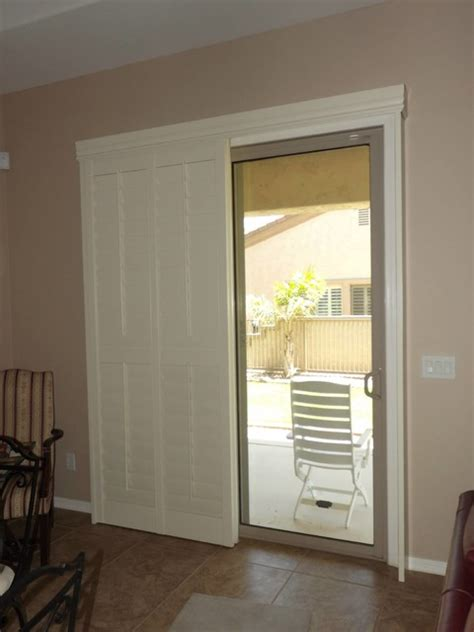 Plantation Shutters For Sliding Glass Doors Plantation Shutters On Sliding Glass Doors Traditional By The Louver Shop