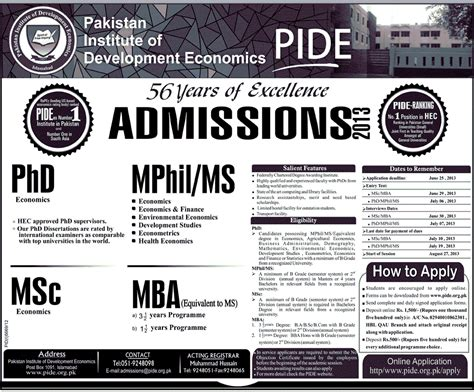 Mphil In Economics After Mba pide admissions 2018 in phd mphil ms msc mba application