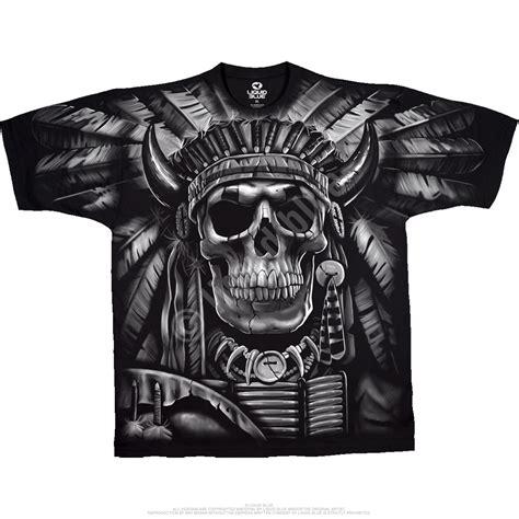 Tshirt Black Indian skulls indian skull black t shirt liquid blue