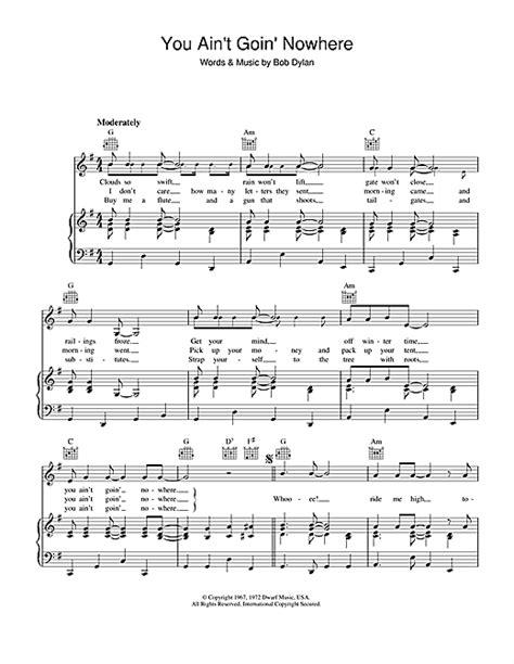 you ain t going nowhere strumming pattern you ain t goin nowhere sheet music by bob dylan piano