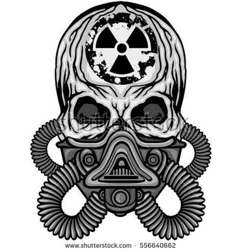 radiation coat arms skull gas mask stock vector 556640662