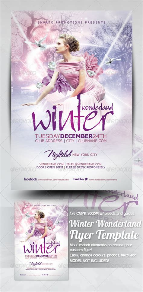 Winter Wonderland Christmas Flyer Template By Mrkra Graphicriver Winter Flyer Template