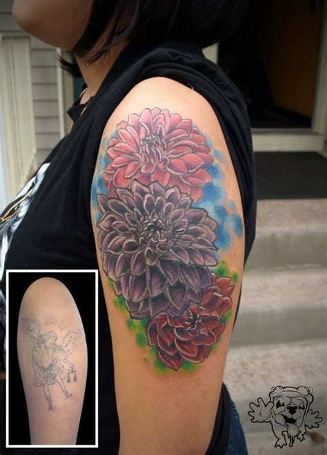 dahlia flower cover up tattoos