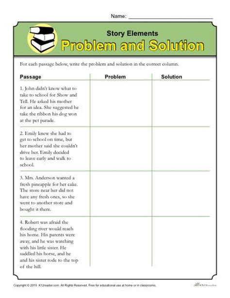 Worksheet On Solutions by Story Elements Worksheet Problem And Solution