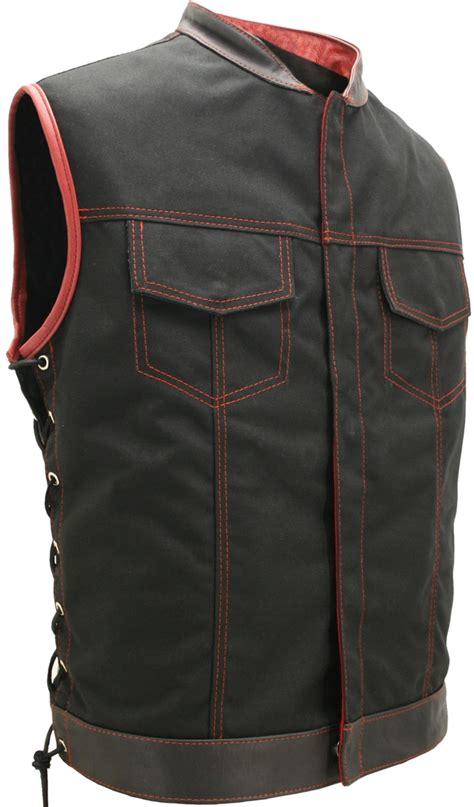 leather biker vest soa style lace cordura military grade fabric