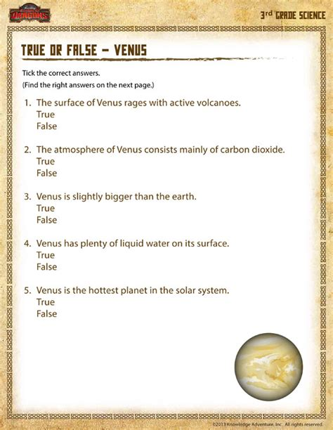 Science Worksheets For 3rd Grade by Planet Venus Worksheets Page 2 Pics About Space