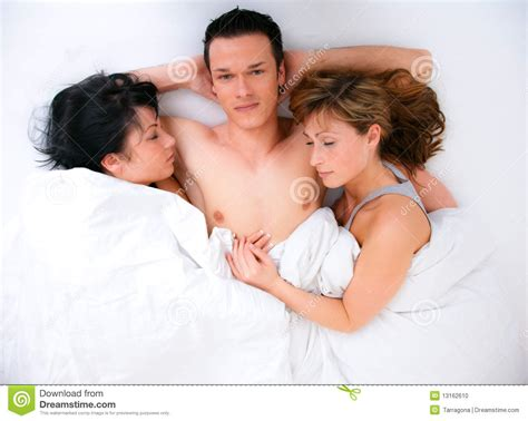 two women in bed threesome stock photo image 13162610