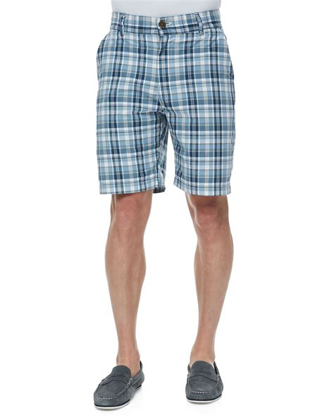 Plaid Shorts w r k gibson plaid shorts in blue for lyst