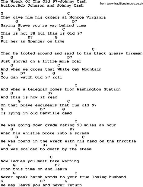 lyrics 97s country the wreck of the 97 johnny lyrics