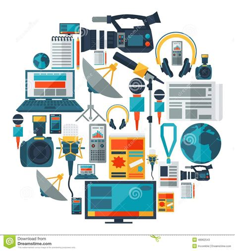 layout artist journalism background with journalism icons stock vector image