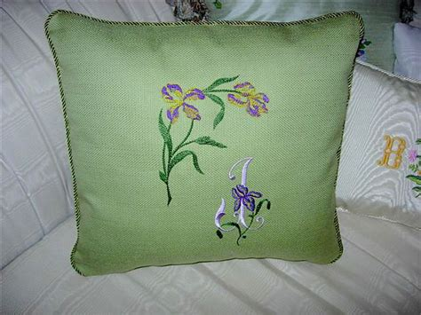 Pillow Embroidery Designs by Abc Embroidery Projects Pillow With Iris Corner Initial
