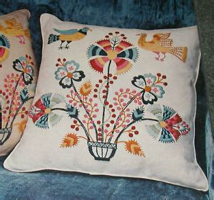 crewel pillow kits vintage paragon 034 birds flowers 034 oyster white
