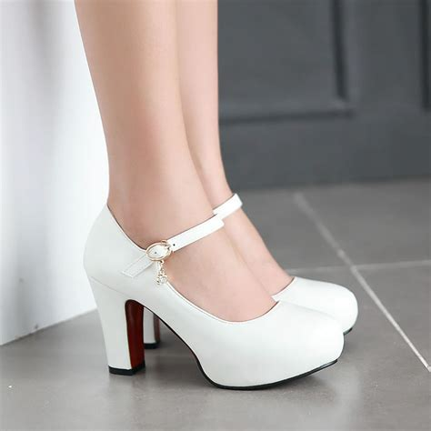 white high heel shoes white thick heels qu heel