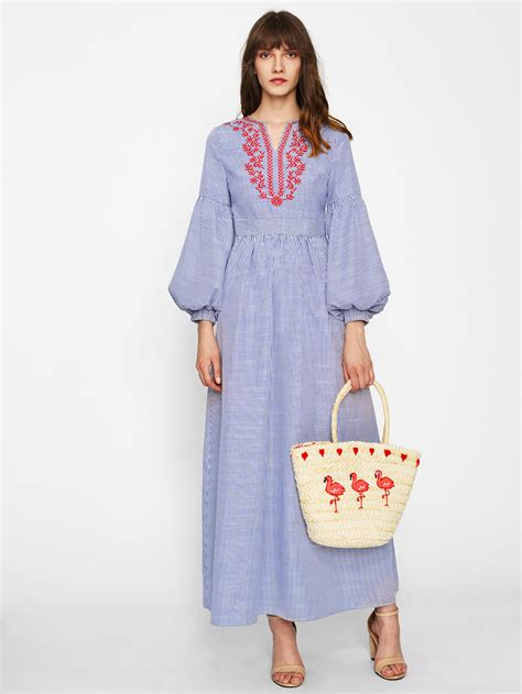 Sleeve Embroidered lantern sleeve embroidered striped dress shein sheinside