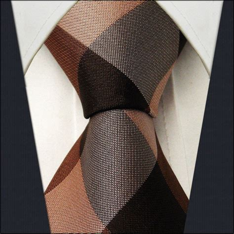 Gamis Jacquard Caramel checked chocolate caramel camel mens neckties ties 100