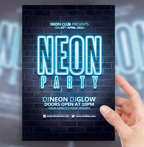 Neon Party Flyer Template By Sorengfx On Deviantart Neon Flyer Template Free