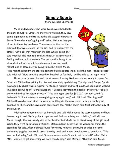 3rd Grade Reading Worksheets by Reading Comprehension Worksheet Simply Sports