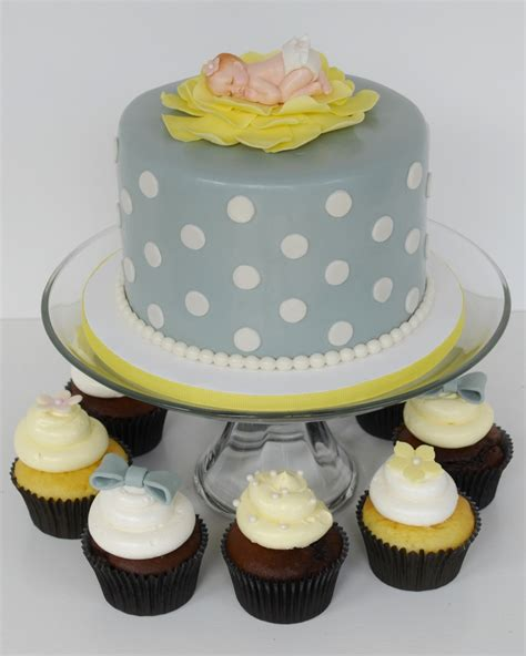 Yellow And Grey Baby Shower Cake by Gray And Yellow Baby Shower Cake And Cupcakes